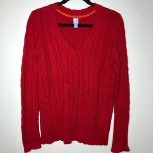 3/$20 JCP Cable Knit V-Neck Sweater Red Large